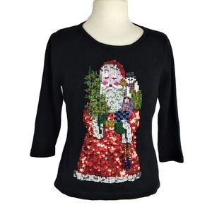 Belle Pointe M Embellished Santa Christmas Sweater